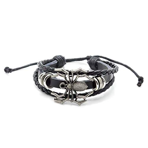 Hop Hip Rope - Xusamss Hip Hop Alloy Spider Bead Drawstring Rope Leather Cuff Bracelet,7-8inches