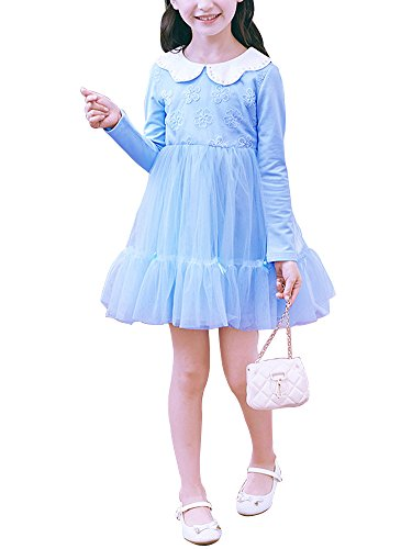 Girls' Tulle Dress Long Sleeve Lace Flower White Doll Collar Princess Dress Light Blue Tag 150 (10-11 Years) -
