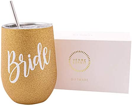 Verre Esprit Bride Tumbler 12 Oz - Engagement Gift, Bride Gifts & Bachelorette Gifts - Bride Cup Perfect For Bridal Shower Gifts - Stainless Steel Bride Drinking Cup - Comes In Stunning Gift Box