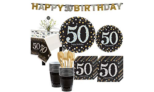 - Party City Sparkling Celebration 50th Birthday Party Kit for 16 Guests, 136 Pieces, Includes Tableware and Decorations