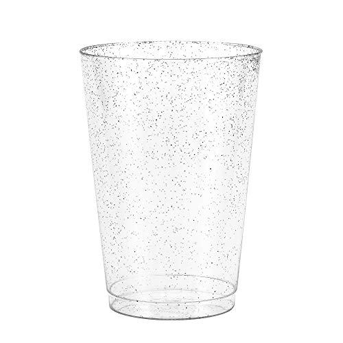 50 Silver Glitter Clear Hard Plastic Cups   12 oz. Fancy Disposable Wedding Tumblers for Party & Wedding (50-Pack) by Bloomingoods