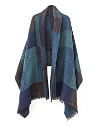 Urban CoCo Women's Cozy Color Block Long Shawl Wrap (1Green-Model B)