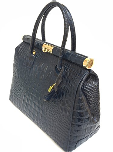 Superflybags Borsa Bauletto A Mano In Vera Pelle modello Alina Cayman Made In Italy Con Manico Tondo Blu scuro