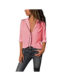 SNOWSONG Women's V Neck Collared Striped Button Down Shirt Long Sleeve Chiffon Tops Blouse