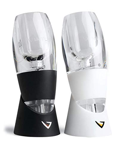 Vinturi V5000 Wine Lovers Set Essential Red and White Wine Aerators, Set of 2, Black