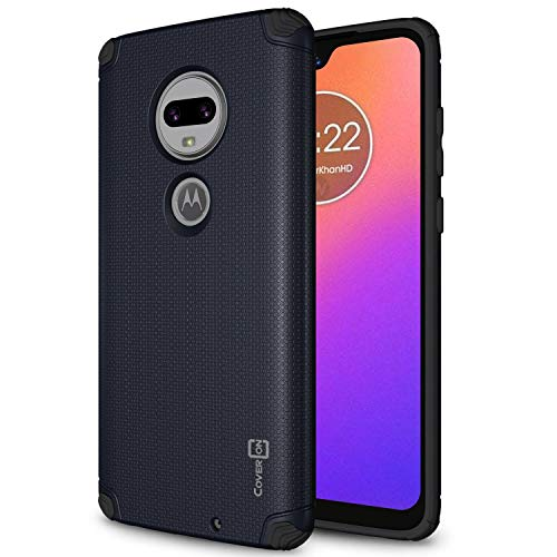 (CoverON Bios Series Motorola Moto G7 / G7 Plus Hard Case, Minimalist Protective Slim Fit Phone Cover Compatible with Magnetic Car Mounts - Navy)