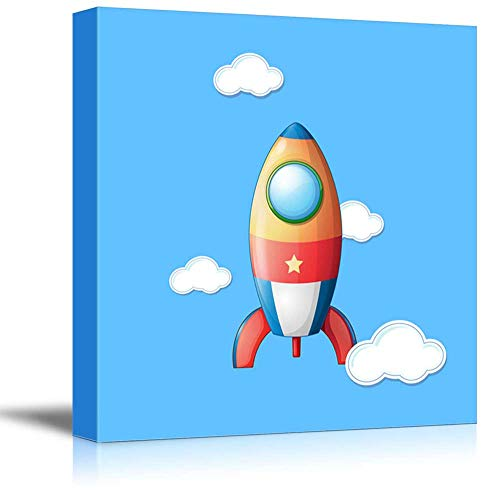 - wall26 - Square Canvas Wall Art - Little Rocket - Kid's Room/Nursery Wall Decor Vibrant Color & Ready to Hang - 12x12 inches