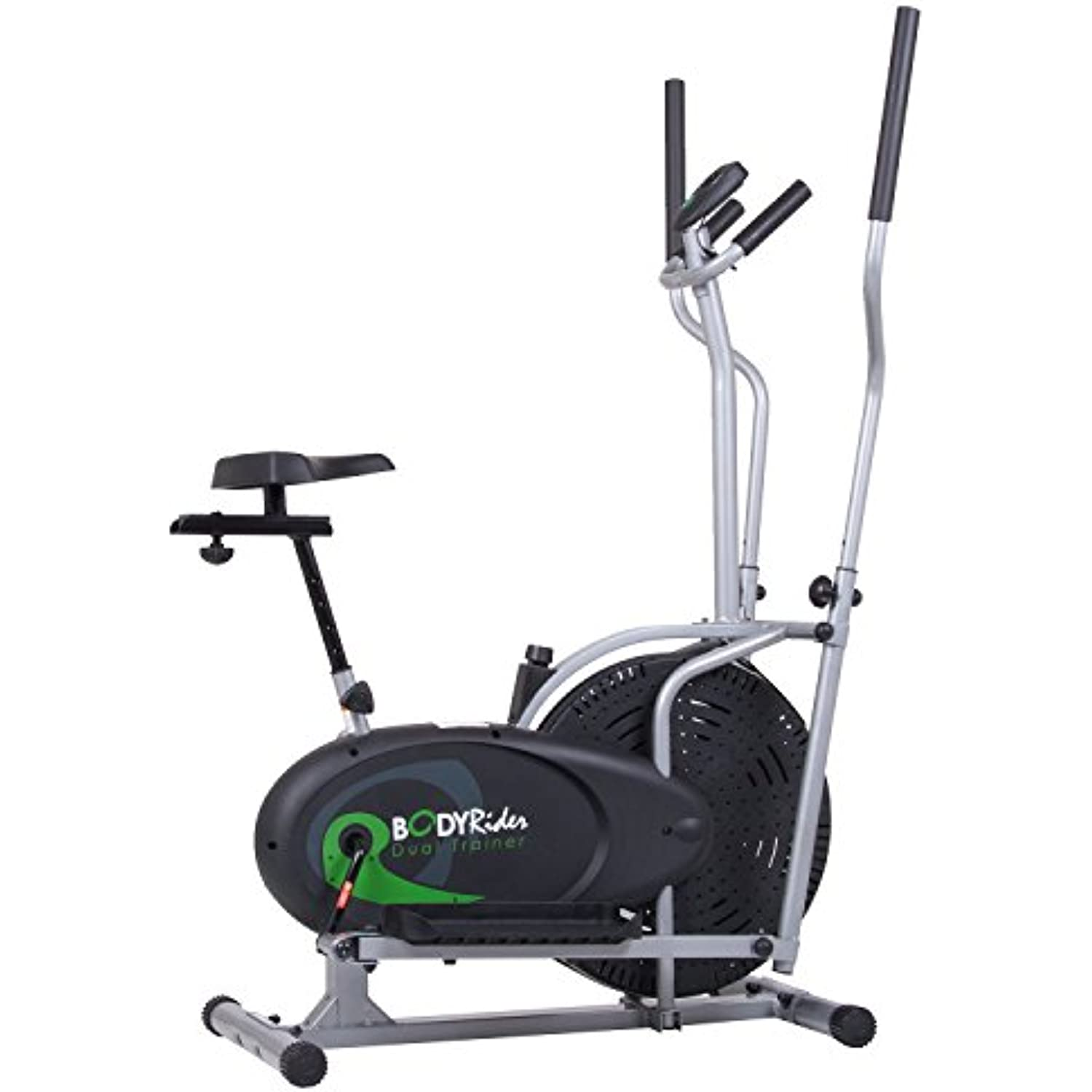 Body Rider Elliptical Trainer and Exercise Bike with Seat and Easy Computer / Dual Trainer 2 in 1 Cardio Home Office Fitness Workout Machine BRD2000
