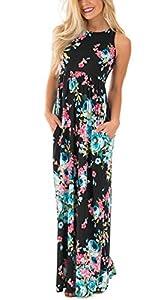 ZIKKER Women's Sleeveless Floral Loose Pockets Long Casual Dress For Summer, Spring, Autumn