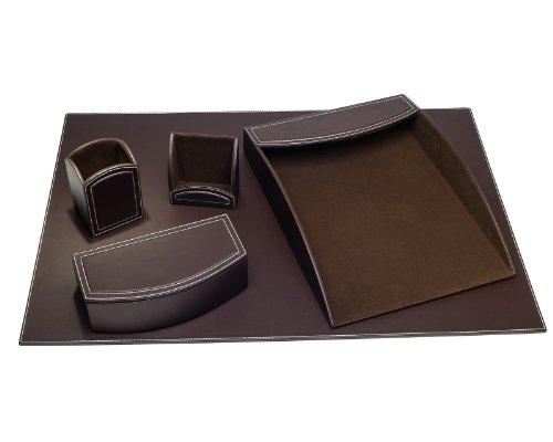 - Dacasso 5-Piece Faux Leather Desk Set, Espresso Brown