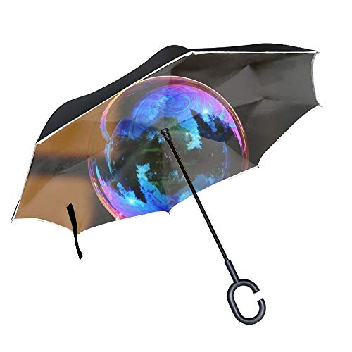 (Soap Bubble Colorful Bowl Reflection Large Inverted Double Layer Reverse Folding Umbrella - Windproof, UV Protection, Self-Standing)