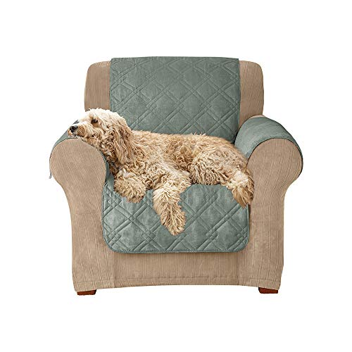 SureFit  Microfiber Chair Pet Throw/Slipcover with Arms, Sea Glass ()