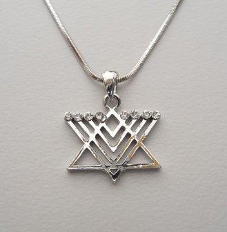 Round Menorah Star Of David Magen Judaica Necklace Pendant Kabbalah Jewish Silver (Star Of David Silver Pendant)