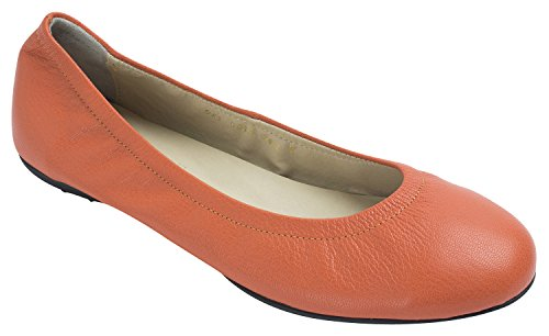 Soyou Dames Ronde Neus Lederen Comfort Ballet Platte Schoenen Oranje