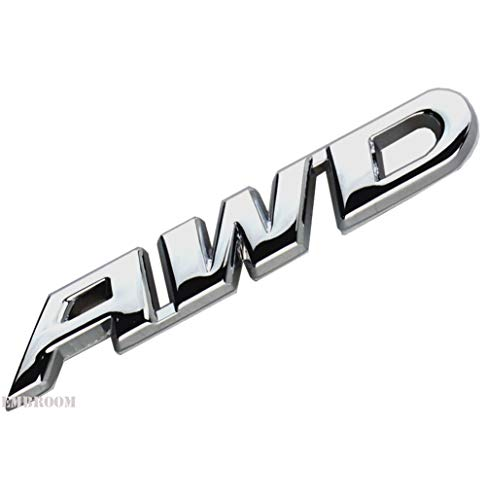 EmbRoom AWD Emblem, 3D Metal Tailgate Side Sticker Badge Replacement For 4x4 All Wheel Drive SUV Off Road (Chrome)