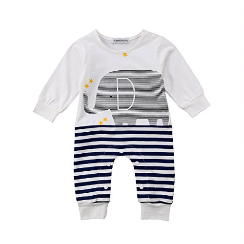 Newborn Infant Baby Boys White Jumpsuit Girls Clothes Long Sleeve Romper Sweatsuit Animal Print 0-24M (Navy Blue, 0-6M) (Old Newborn Navy)