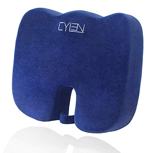 CYLEN -Memory Foam Bamboo Charcoal Infused Ventilated Orthopedic Seat Cushion for Car and Office Chair - Washable & Breathable Cover (Navy Blue) -