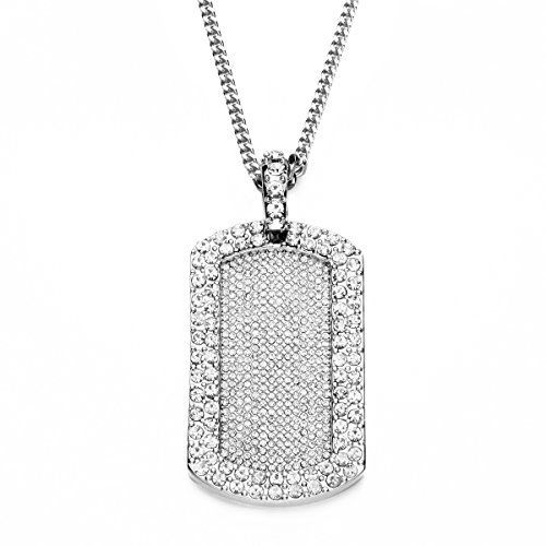 Angelcrab Iced Out Bling Army Style Dog Tag Silver Pendant Necklace, 28'' (Army Silver Necklace)
