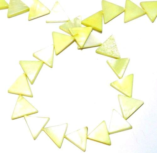 (MP726 Yellow Green 14mm Flat Triangle Mother of Pearl Gemstone Shell Beads 15'' Crafting Key Chain Bracelet Necklace Jewelry Accessories Pendants)