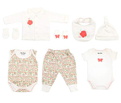 Baby Bright Newborn Clothes Set for Girl 0 to 3 Months 8 pcs Set Made from 180GSM BioSilky 100% Combed Cotton with Embroidery Includes Bib Mittens Booties Pajama Set Cap ()