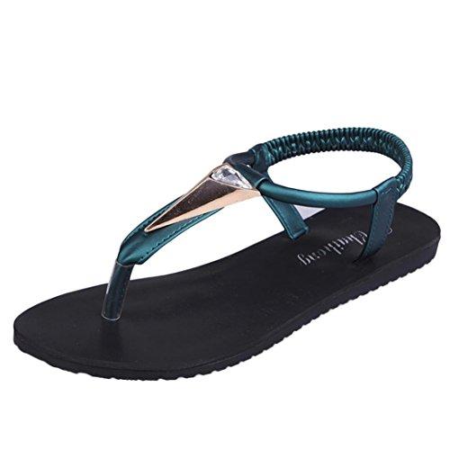 bescita Neue Fashion Flache Schuhe Strass Böhmen Freizeit Lady Peep-Toe Sandalen Outdoor Damenschuhe (38, Grün)