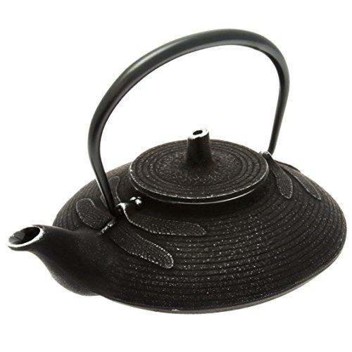 Iwachu Japanese Iron Tetsubin Teapot, Dragonfly, Silver and Black by Iwachu
