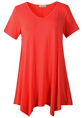 LARACE Women Casual T Shirt V-Neck Tunic Tops for Leggings(1X, Red) (Shirt Leggings Top)