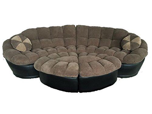ufe-marseilles-4-pc-plushy-chenille-sectional-sofa-with-ottoman-microfiber-fabric-dark-brown