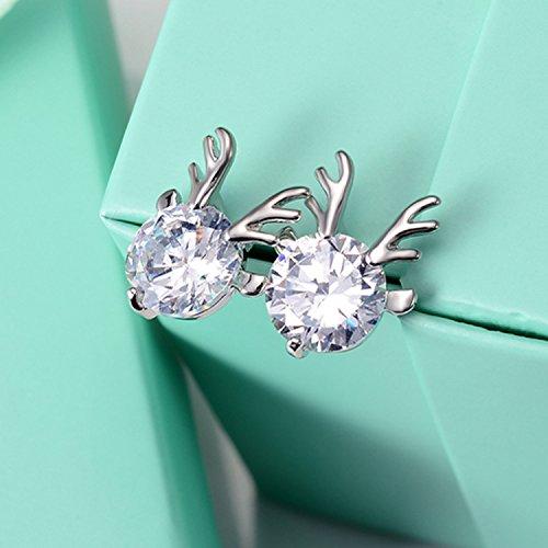 TKHNE Korea cute little animals earrings Micro Pave zircon single diamond stud earrings fox squirrel Fawn cat frog ()