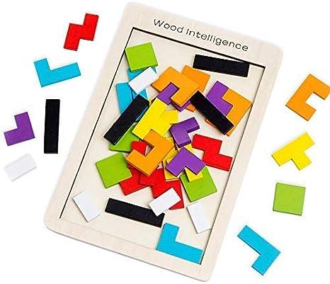 SeeKool Puzzle Tetris de Madera, Tangram Jigsaw Rompecabezas Madera Juego Educativo Brain Teaser Toy, Colorido de Madera Geometría Bloque de Construcción Inteligencia Regalo para Niños (40 Pcs): Amazon.es: Juguetes y juegos