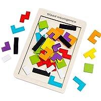 SeeKool Puzzle Tetris de Madera, Tangram Jigsaw Rompecabezas Madera Juego Educativo Brain Teaser Toy, Colorido de Madera…