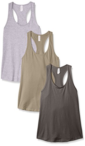 Clementine Apparel Women's Petite Plus Ideal Racerback Tank (Pack of 3), Heather Grey/Dark Grey/Warm Grey, (Hottest Outfits 2017)