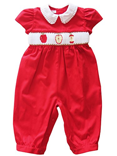 (Baby Girls Red Long Bubble Romper with Hand Smocked Apples)