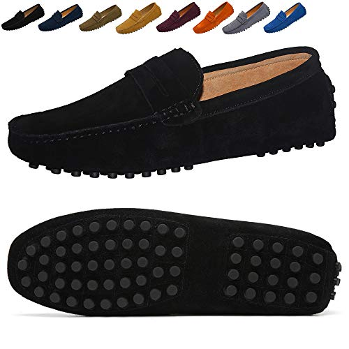 Go Tour Men's Classy Fashion Slip Penny Loafers Casual Suede Leather Moccasins Driving Shoes Flats Classic Boat Shoes Black 41 (Classic Boat Shoes)