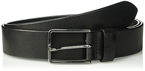 Armani Exchange Men's Leather Belt with Gunmetal Hardware, black, I