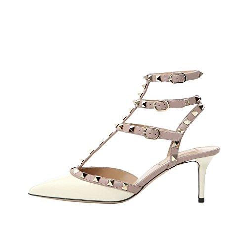 Mavirs Womens Punta A Punta Cinturino Alla Caviglia Pompe T-strap Tacco Medio Rivetti Scarpe Borchiate Avorio A Contrasto-brevetto