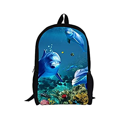 ThiKin Personalized Seabed Fish Backpack for Kids Boys Girls Back to School