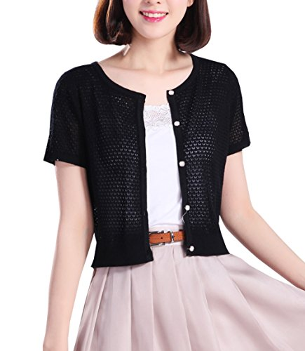 Button Up Cotton Cardigan - NianEr Summer Crew Neck Short Sleeve Cardigans for Women Button up Knit Cardigan Sweaters