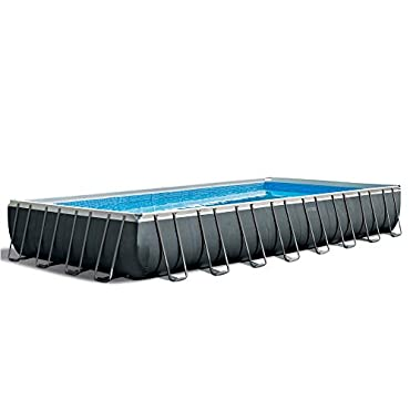 "Intex 24' x 12' x 52"" Ultra XTR Rectangular Metal Frame Swimming Pool Set w/Pump Filter, 26367EH"