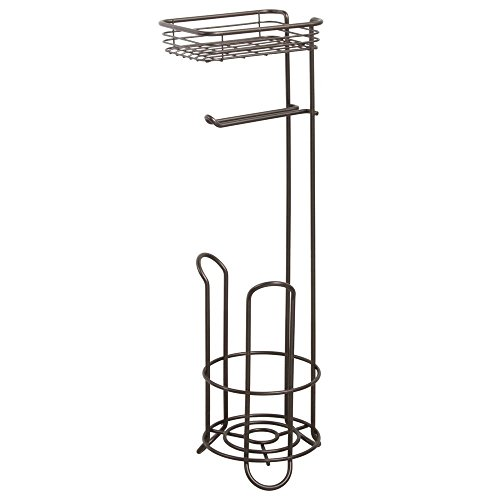mDesign Free Standing Toilet Paper Holder with Shelf for Bathroom – Bronze