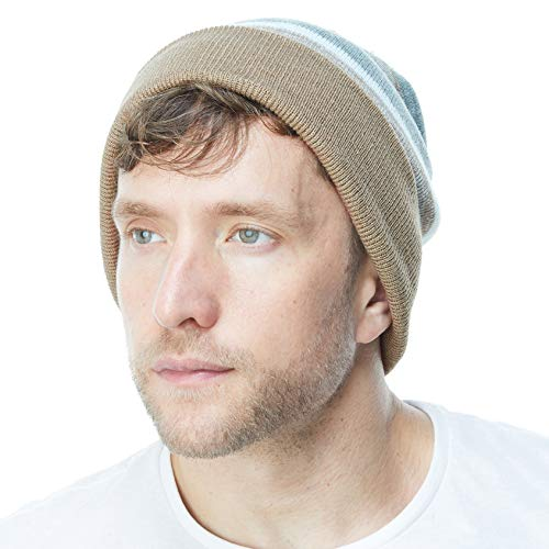 THE HAT DEPOT Winter Soft Unisex Pom Pom Stripe Knit Beanie Skull Slouch Hat ()