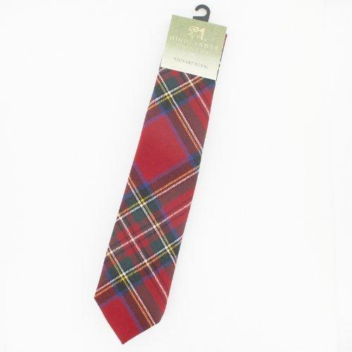 (Stewart Royal Red Wool Plaid Check Neck Tie)