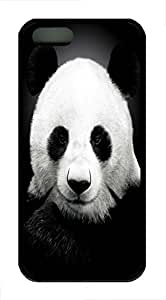 Brian114 5s Case, iPhone 5 5s Case - Soft Rubber Black Cute Panda 3 Protection Back Case for iPhone 5 5S