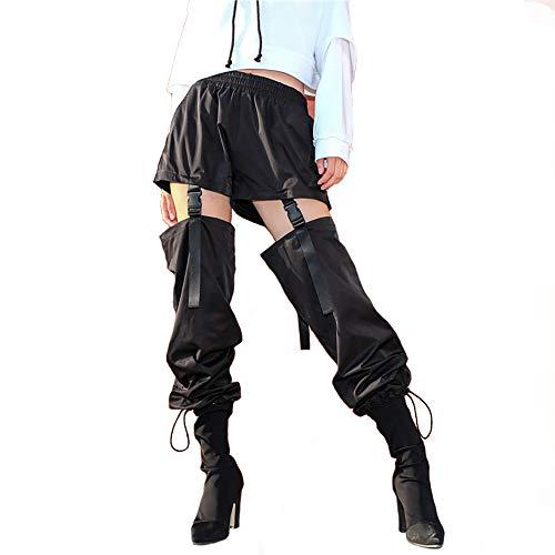 (malianna Women Patchwork Hollow Out Adjustable Buckle Pencil Pants (M) Black)