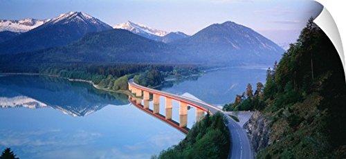 Canvas On Demand Wall Peel Wall Art Print entitled Bridge over Lake Sylverstein Bavaria Germany - Drive Lake Woodlands