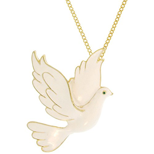 GIRLPROPS 2 X 2.5 Enamel Dove of Peace Pendant with Pin Back, 16