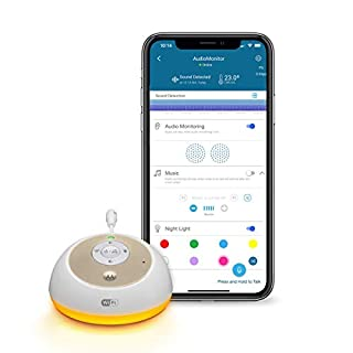 Motorola MBP163CONNECT Audio Baby Monitor - Wireless WiFi Smart Device for Toddlers, Infants, Nursery - with 10 Soothing Sounds, Lullaby, Audiobook - 2-Way Talk Intercom, 7 Night Light Color Options
