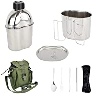 Mastiff Gears® 304 (18/8) Stainless Steel (FDA Compliant) US Military Canteen Kit Cooking Set Camping Canteen