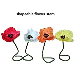 En Ge 10 Stems Mini Artificial Poppies Real Touch Fake Latex Flowers for Bridal Wedding Bouquet Home Kitchen Desktop Party Decor 2