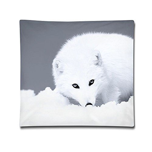 Kjaoi 1818 Inches Pillow Case Snow Fox Comfortable Soft Bed Pillow Case Household Pillow Case Office Bolster]()